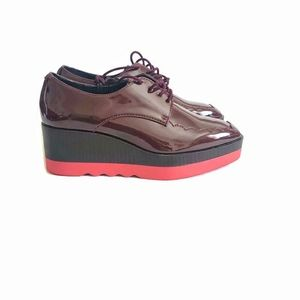 NWOB Zara patent  platform oxford shoes size 5